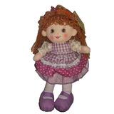 Boneca De Pano - Vestido Xadrez Roxo - 35cm