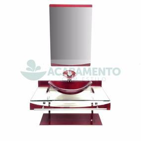 Gabinete Vidro Cuba Oval 90 Cm Banheiro Vinho + Misturador