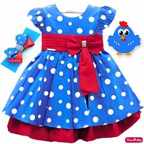 Vestido Galinha Pintadinha Luxo Infantil Com Faixa Original