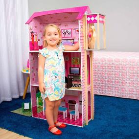 Casa De Boneca Infantil Rosa Barbie Casinha 3 Andares 1,14m