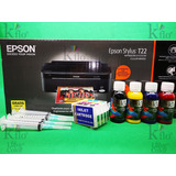 Impresora Epson T-22 Y Cartucho Recargable Tinta Sublimación