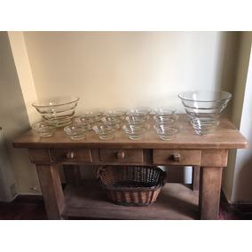 Antiguo Juego Vajilla Vidrio 16 Piezas Compoteras Y Bowls