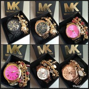 Kit 10 Relógios Feminino Mk Pesado+ Pulseiras + Caixa +frete
