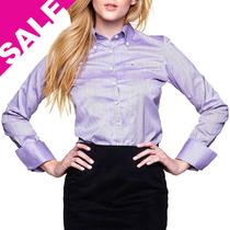 Camisa Feminina Blusa Listrada Lilás Manga Longa Fit Fio 80