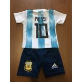 Conjunto Camiseta Short Futbol Argentina Messi Bebe Niño