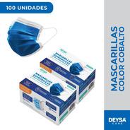 Mascarillas Desechables 50 Un 2 Cajas (100 Un). Color Azul