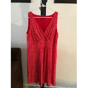 Vestido Chaps Rojo De Bolitas Blancas