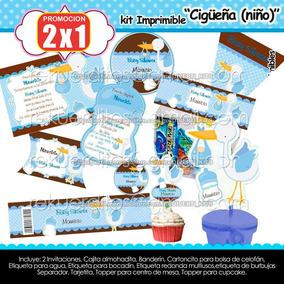 Kit Imprimible Cigüeña Baby Shower Niño Tierno Bebe A30