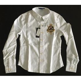Increible Camisa Blusa Polo Rl Logo Mujer Dama Blanca