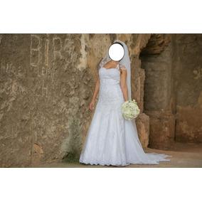 Vestido De Noiva Semi Sereia Com Véu