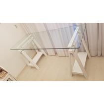 Mesa Com Tampo De Vidro E Cavaletes Ajustáveis 76cm À 94cm