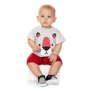 Roupa Bebê Menino Conjunto Curto De Verão Camiseta E Bermuda