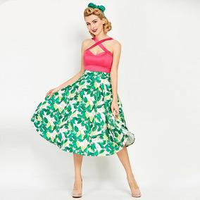 Vestido Vintage Floral Verde Rosa Rodadinho Anos 60 70