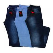 Kit 3 Calça Jeans  Masculina Plus Size Slim Grande Elastano