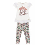 Conjunto Infantil Feminino Blusa Com Legging Floral Infanti