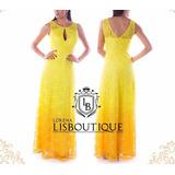 Vestido Amarelo Degradê Renda Formanda Madrinha Festa Convid