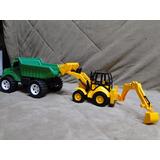 Kit Construção Caçamba E Retro Escavadeira Caminhão E Trator