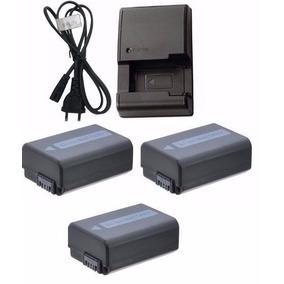 Kit Três Baterias Np-fw50 + Um Carregador P Sony Alpha A6000