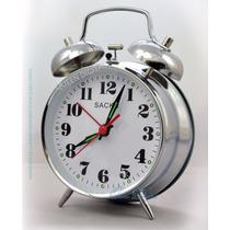 Reloj Despertador A Cuerda Con Campanillas Grande Metalico