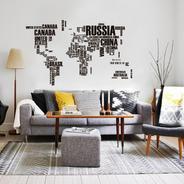 Vinilo Decorativo Mapa Mundi Con Nombres 130x200cm