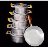 Jogo Panelas Aluminio Batido + Frigideira Não Queima O Arroz
