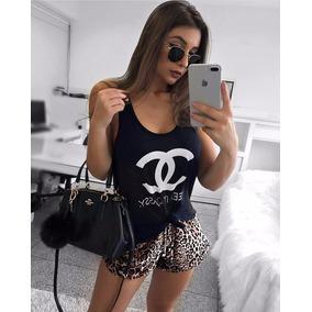 Conjunto Regata Chanel + Shorts Oncinha Veludo