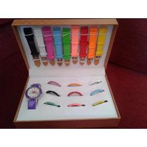 Kit Relógio Troca Pulseiras Feminino 10 Pulseiras E 11 Aros