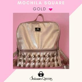 Mochila Square Gold Scissors Queens Tachas Cuero Eco Pu