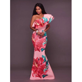 Vestido Floreado Fiesta Rosa Amarillo Un Hombro Moda Sirena