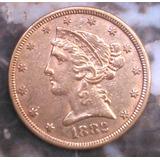 Un Cuarto De Morocota De Oro De 1882- 8.36g 22k