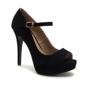 Zapato Dama Mujer Qupid Peep Toe Con Cinta Ajustable Negro