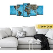 Cuadro Grande Políptico Mapa Mundo Viajes Países Planisferio