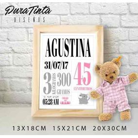 Cuadritos Personalizados Nacimiento Bebe Cumpleaños 15x21cm