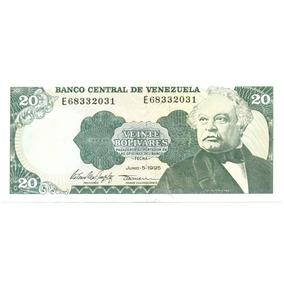 Billete De 20 Bolívares Junio 5 De 1995 Serial E8 - Au / Sc
