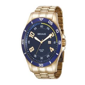82281f02721 Relógio Seculus Long Life Dourado Fundo Preto 28086gpslda1 P ...