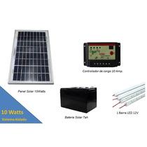 Panel Solar 10w Kit Sistema Aislado + Iluminación Led