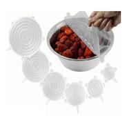 Tapas Silicona Ajustables Reutilizables Set X 6 Transparente