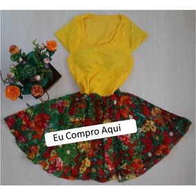 Vestido De Renda Amarelo Saia Xadrez Flores Com Bojo