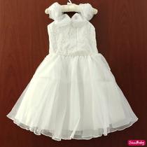 Vestido Festa Infantil Branco Daminha Florista Batizado