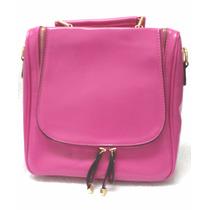 Bolsa Mochila Pink Social Em Couro Pu De Mão Ou Tranversal