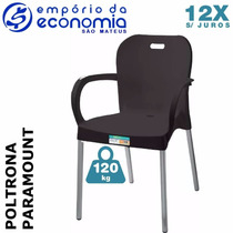 Cadeira Plastico Polipropileno Pé Alumínio Paramount Preto