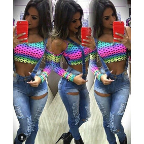 Camiseta Colorida Cropped Linda