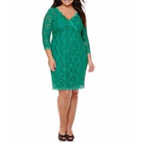 Vestido Verde Esmeralda Tallas Extras Grande Manga Larga 24w