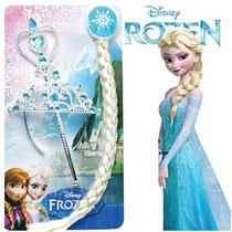 Disfraz Kit De Elsa Trenza + Corona +centro Princesa Frozen
