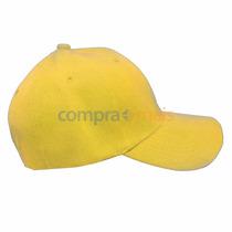 Boné Amarelo Liso Aba Curva Aba Reta, Boné Unisex 6 Gomos