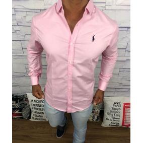 Camisa Social Casual Masculina Slim Fit Raplh Lauren Rosa