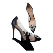 Scarpin Sapato Feminino Preto Transparente Com Fivela