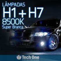 Kit Lampada Super Branca H1 + H7 8500k Techone Efeito Xenon