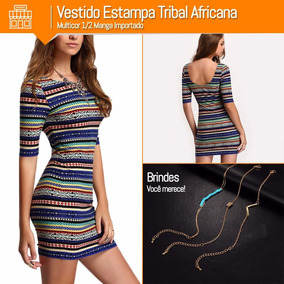 Vestido Estampa Tribal Africana Multicor 1/2 Manga Importado