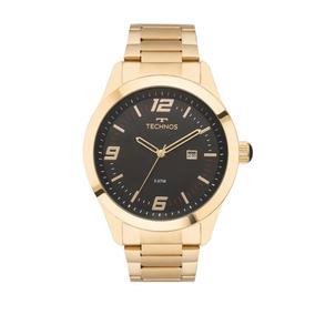 Relogio Technos Dourado Fundo Preto Masculino Pulso - Relógios De ... 9270ee3835